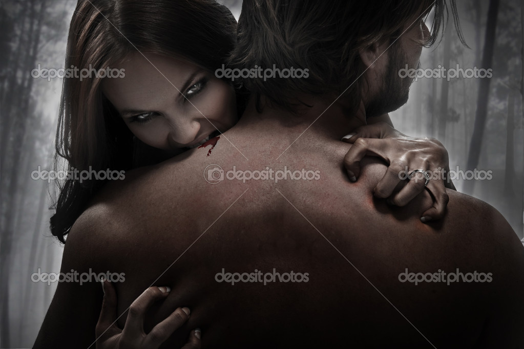 Woman vampire bite  — Stock Photo #4489717