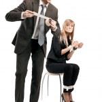 Foto simbólica de las relaciones en el equipo de negocios — Foto de Stock