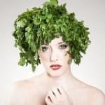 Beautiful parsley haired woman — Stock Photo