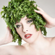 Beautiful parsley haired woman — Stock Photo #4501163