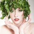 Beautiful parsley haired woman — Stock Photo
