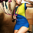 Fashion style photo of blond beauty - Stock fotografie