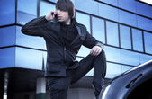 Fashion style photo of a handsome guy — Stock Photo