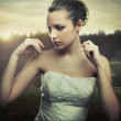 Fine art photo - young lady wearing a necklace of morning dew — Stock Photo