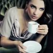 Calm lady drinking coffee — Stock Photo