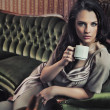 Stok fotoğraf: Portrait of beautiful lady drinking afternoon coffee