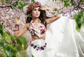 Romantic style photo of a beautiful brunette — Stock Photo