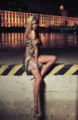 Glamour type photo of cute blonde sitting on the city bridge — 图库照片