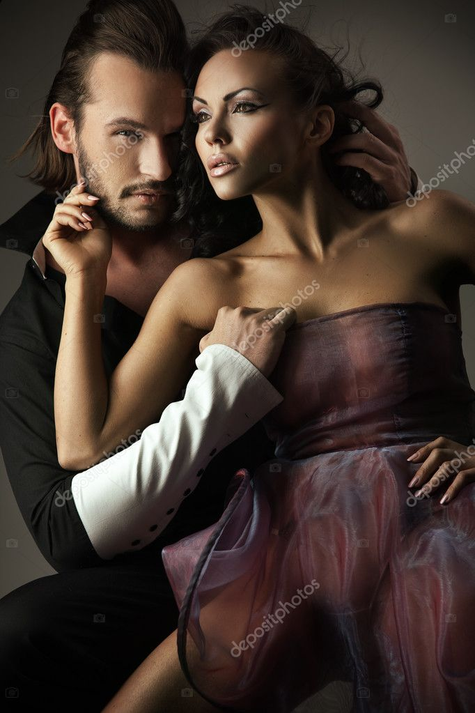 Vogue style photo of a cute couple  — Stock Photo #4579256