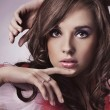 Gorgeous beauty portrait of a young brunette — Stok fotoğraf