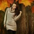 jovem mulher em um cenário romântico de outono — Foto Stock