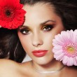 Portrait of a beauty lady with flowers — Foto de Stock