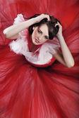 Romantic style shot of a beauty brunette — Stock Photo