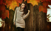 Young woman in a romantic autumn scenery — Stok fotoğraf