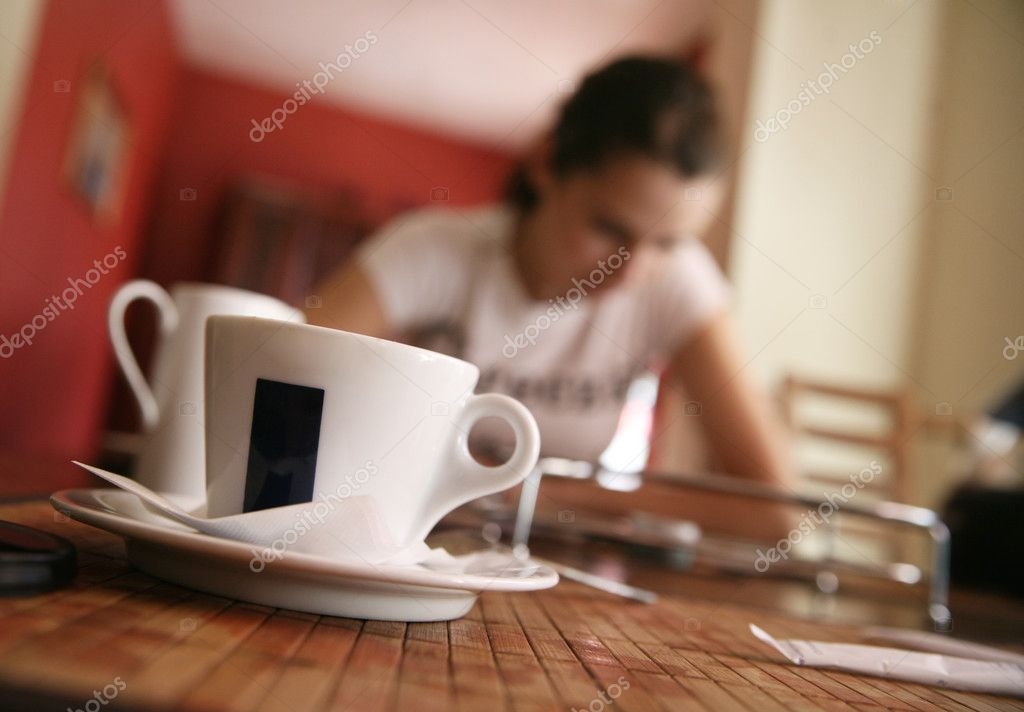 Cute brunette on a coffee-break — Stock Photo #4580265