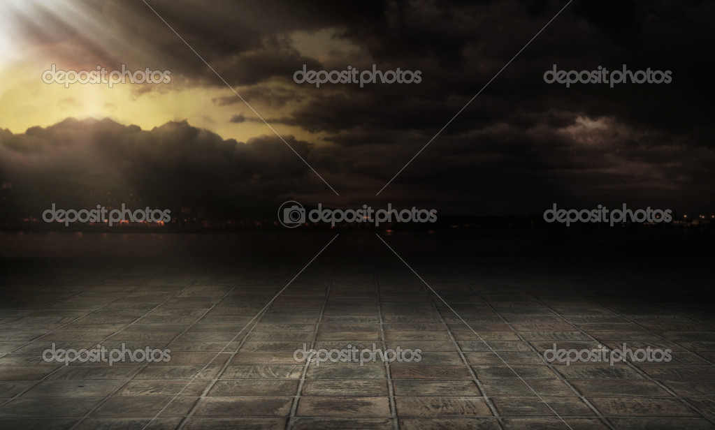 Dramatic sky over city streets   Stock Photo #4581266