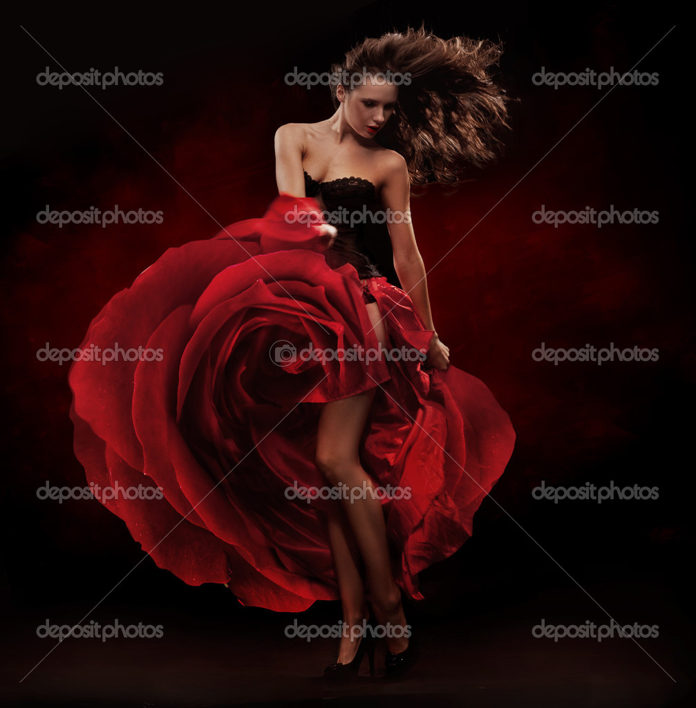 Beautiful dancer wearing red dress  — Stock Photo #4581328