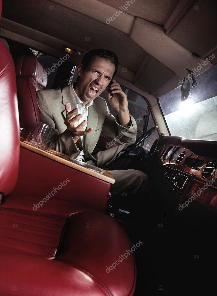Screaming man in the car  — Stock Photo #4585563