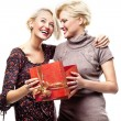 Two blond beauties holding a christmas present — Stock Photo #4597010