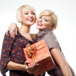 Two blond beauties holding a christmas present — Foto Stock #4597019