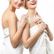 Young women in bath towels — Stock Photo
