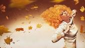 Belleza de pelo naranja sobre fondo de estudio — Foto de Stock