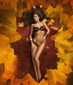Beauty brunette laying on the leaves carpet — Stock Photo