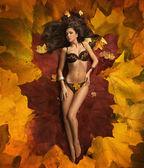Morena de beleza deitado sobre o tapete de folhas — Fotografia Stock
