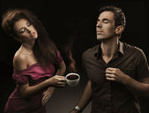 Sexy couple with cup of coffee — Foto Stock