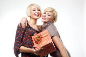 Two blond beauties holding a christmas present — Stok fotoğraf