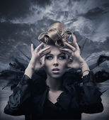 Vogue style photo of a gothic woman — Stock Photo