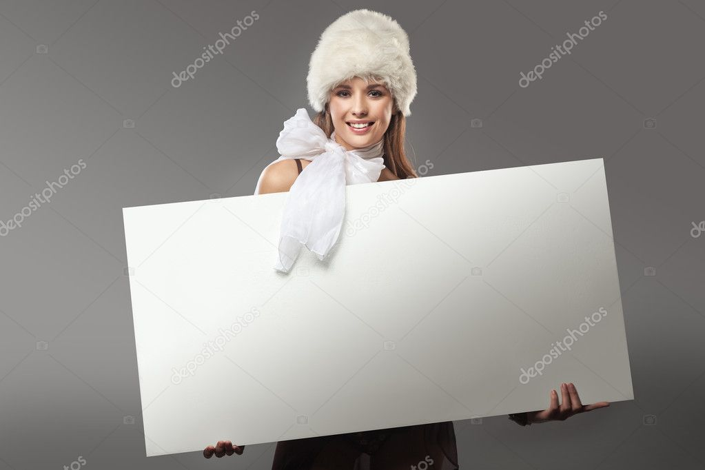 Young happy woman over white board  — Zdjęcie stockowe #4596112