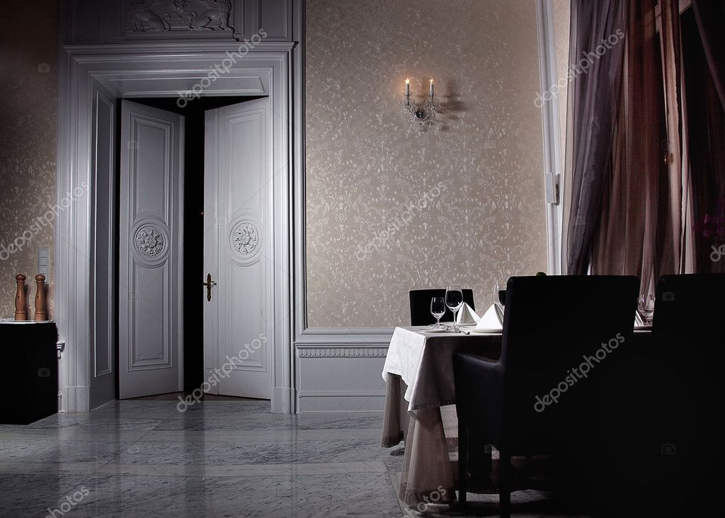 Classic white interior with open door  — Stock Photo #4596162