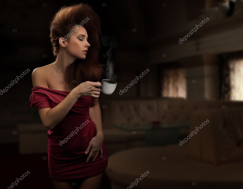 Sexy woman with cup of coffee — Stock Photo #4596765