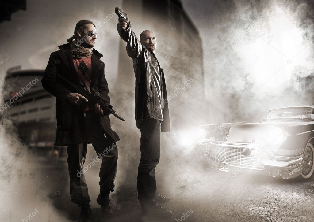 Gangsters and stylish old car  — Stock Photo #4596932