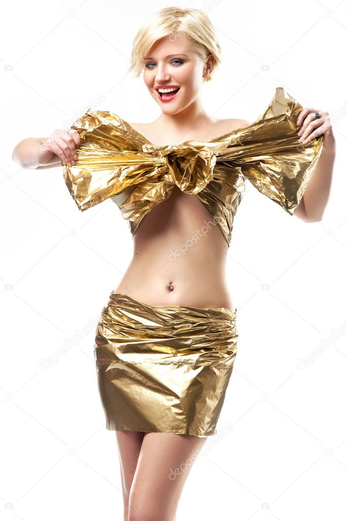 Beautiful woman wearing gold ribbon — Stock Photo #4597127