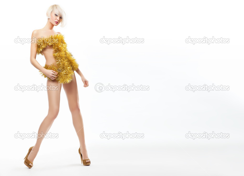 Blonde beauty wearing gold dress  — Stock Photo #4597129