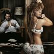 Amazing sexy couple having fun in romantic room — Stock Photo