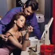 handsome young couple preparing für den abend — Stockfoto