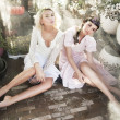 Girls posing in sensual clothes like a nymphs - Stok fotoraf
