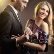 Engagement, happy young man gifting a ring to a beautiful young — ストック写真 #4897228