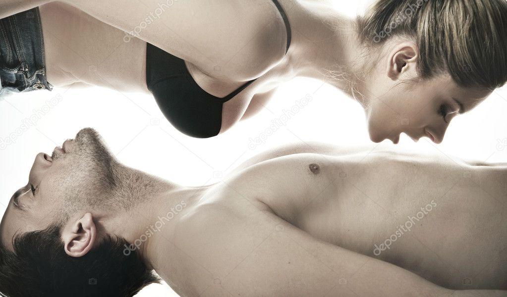 Loving affectionate nude heterosexual couple