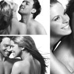 tres vistas de una sonriente pareja de enamorados — Foto de Stock