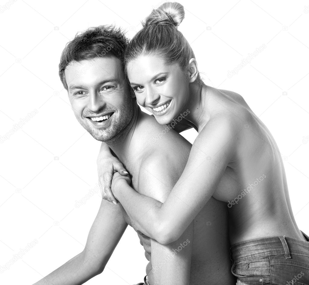 Closeup portrait of a happy young couple — Stock Photo #4904400