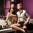 Glamour style photo of two cute girls — Stock Photo