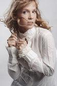 Dynamic photo of pretty blonde woman — Stock Photo