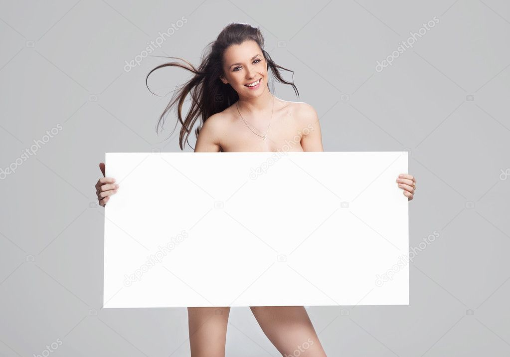 Young happy woman over white board — Stock Photo #5038585