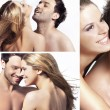 Three views of young happy couple - Stock Photo