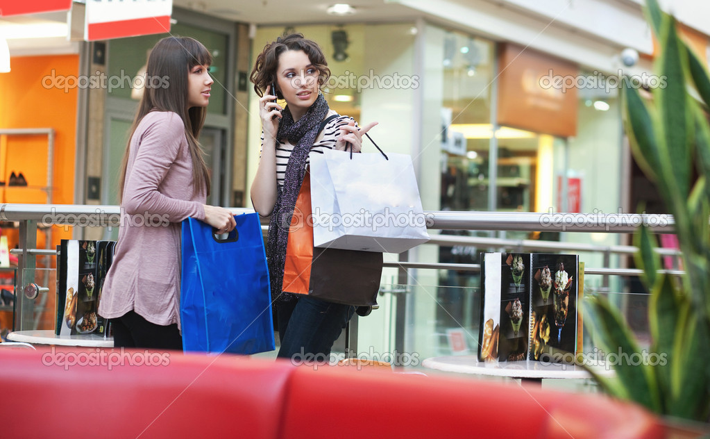 Two girls with shoppingbags — Stock Photo #5087695