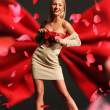 Beautiful woman wearing red ribbon - Foto de Stock